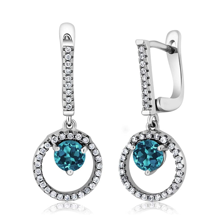 2.22 Ct Round London Blue Topaz 925 Sterling Silver Earrings