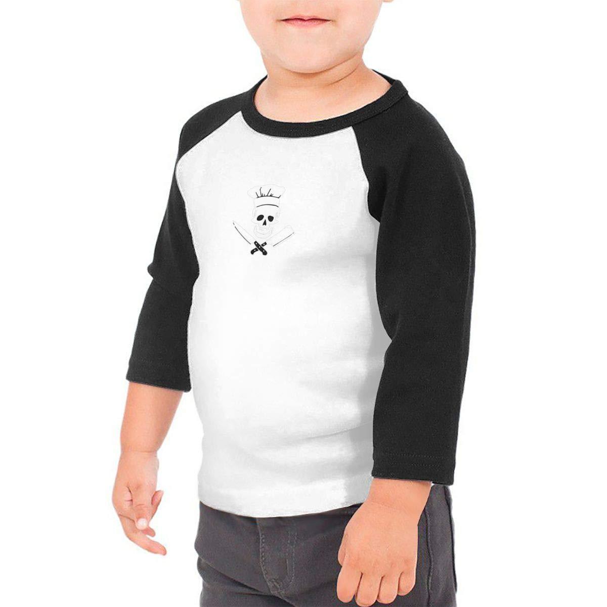 yimo Cooking Skull Unisex Toddler Baseball Jersey Contrast 3//4 Sleeves Tee