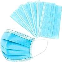 Aisence 50 Pieces 3-Layer Disposable Face Ma-sk Adult Anti-fog Haze Dustproof Non-Woven Fabrics Ma-sk