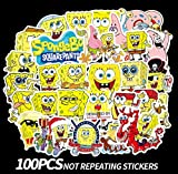 Spongebob Squarepants Stickers (100pcs), Laptop Sticker Vinyl for Funny Scrapbook MacBook Car Motorcycle Bicycle Luggage Decal Phone Luggage Computer Mug Notebook Home Wall Snowboard Waterproof