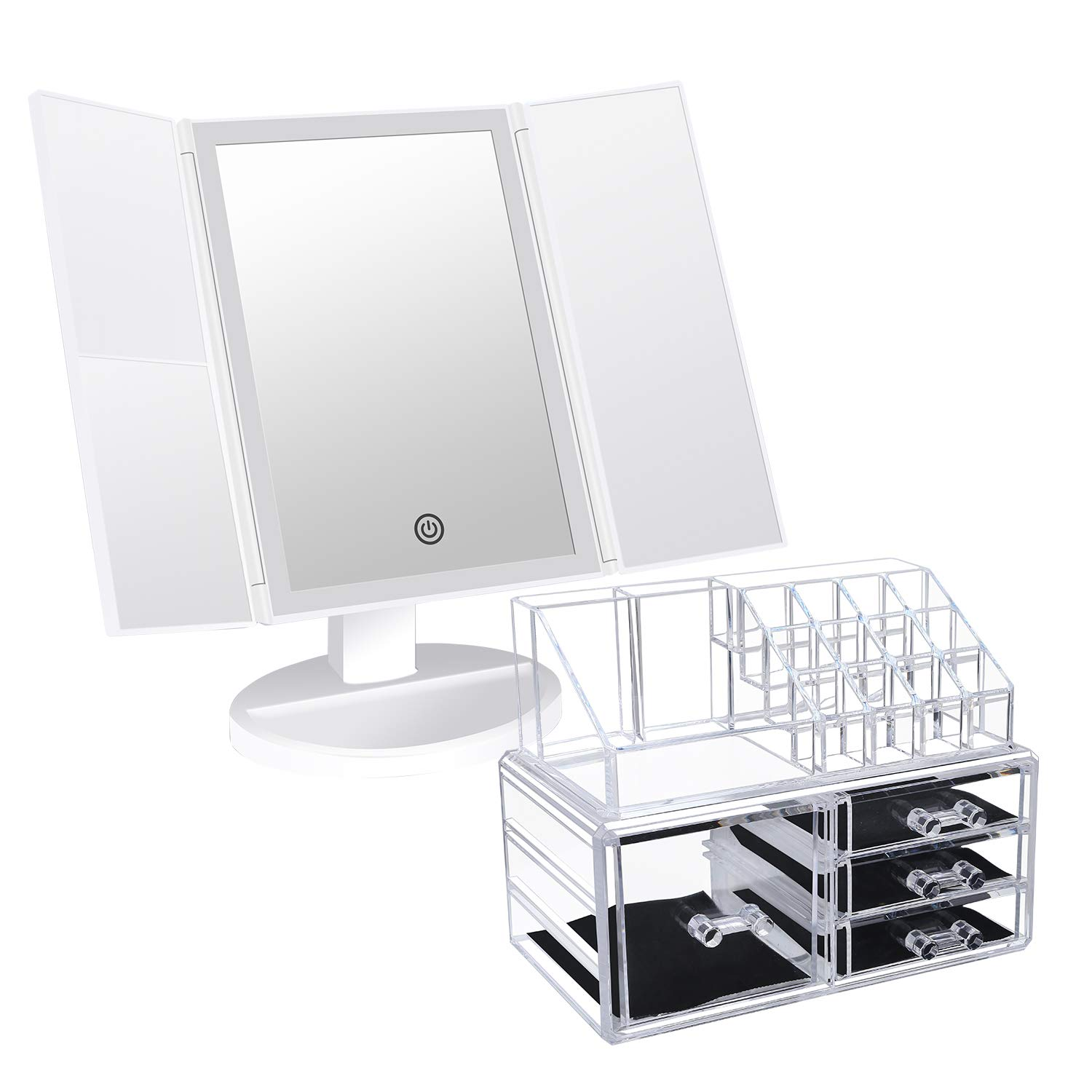 Brise Beaut Lighted Makeup Mirror with 2 Pieces Storage Box Bundle
