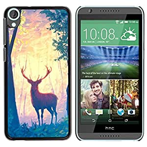 Design for Girls Plastic Cover Case FOR HTC Desire 820 Deer Forest Trees Art Painting Drawing Animal OBBA