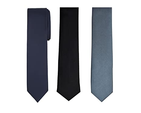 04907575648f ShopLuvOnline Combo Set of 3 Slim Satin Tie Men for Formal Party Wear. Black  Tie, Grey Tie, Navy Blue Tie: Amazon.in: Clothing & Accessories