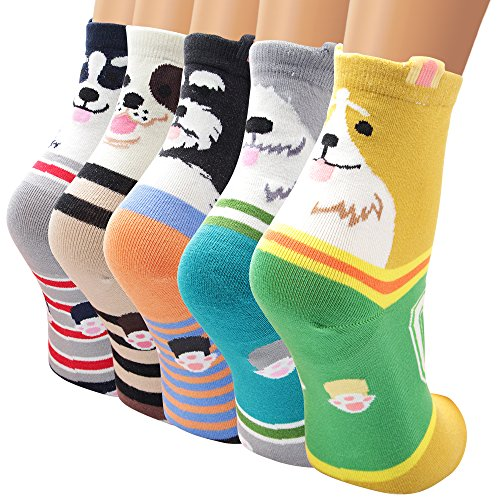 Ambielly Funny Socks Women Colorful Fancy Design Soft & Stretchy Novelty Socks (5 Numbers)