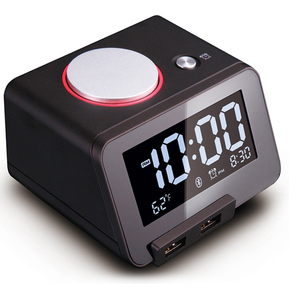 [Upgraded Version] Homtime C1 Pro Alarm Clock for Bedrooms with Bluetooth Speaker, 2-Port Universal USB Charger, Large Dimmable LCD Screen, Thermometer, Snooze, Warranty – Black