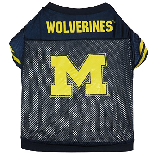 NCAA Michigan Wolverines Football Dog Jersey, Small  - New Design Michigan Dog Pet Varsity Jacket