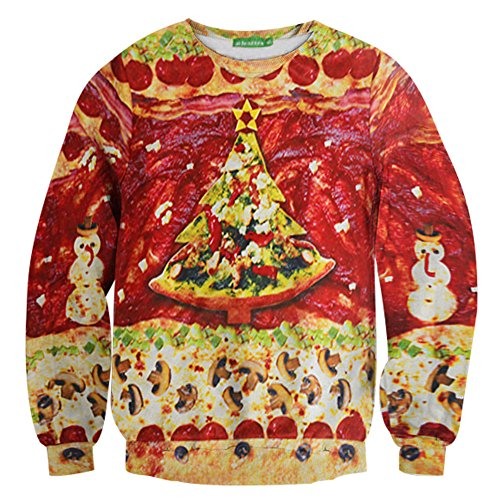 Murinsar Christmas Pizza Tree Sweatershirt Pullover Long Sleeve,X-Large]()