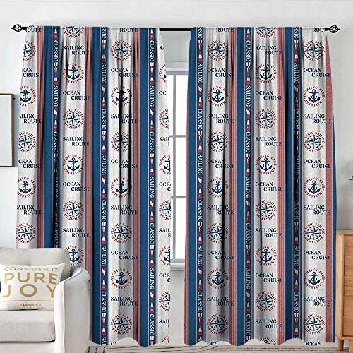 (Petpany Blackout Curtains Compass,Ocean Cruise Sailing Route Yatching Club Icons on Vertical Navy Borders, Navy Blue Red White,for Bedroom,Nursery,Living Room 100