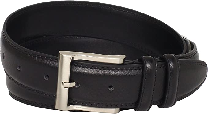 New Dockers Men/'s Leather 32mm Belt with Double Loop Keeper