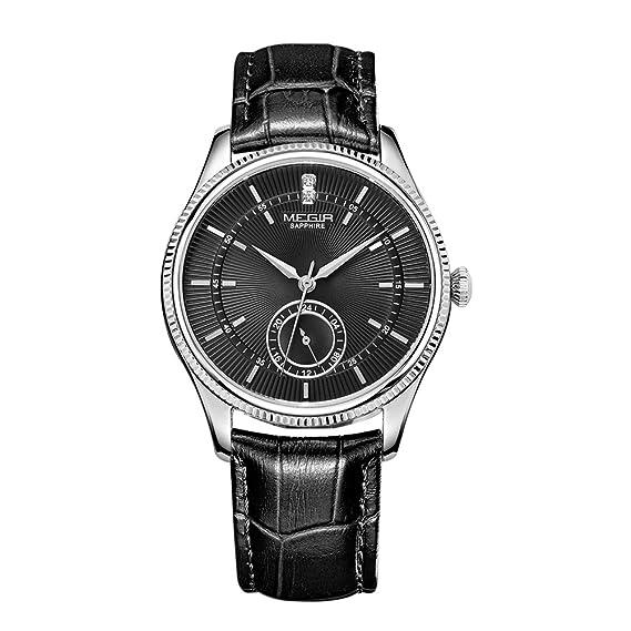 Cronógrafo luminoso reloj cuarzo deportes reloj MEGIR hombres con correa negra: Amazon.es: Relojes