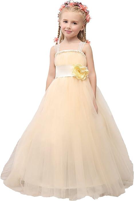 5771224253b73 MicBridal Robe de Baptême Robe Bretelle Robe de Soirée Cérémonie Mariage  Enfant Fille Demoiselle D