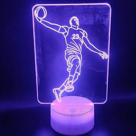 ZYBZYB 3D Lámpara de óptica ilusión Lebron James Slam Dunk Hermoso ...