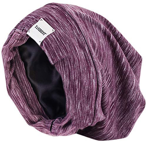 - YANIBEST Extra Large Adjustable Satin Lined Slouchy Beanie Sleep Cap for Dry Hair and Curly Hair Stay on All Night 2018 (One Size, Purple)