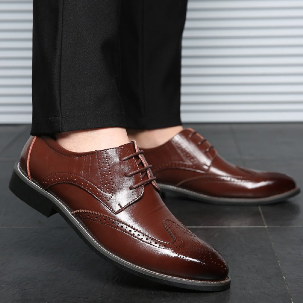 cd0e28be2e8a5 Chaussure Homme Cuir, Brogue Lacets Derby Mariage Dressing Oxford Business  Cuir Vernis Noir Marron Rouge Jaune ...