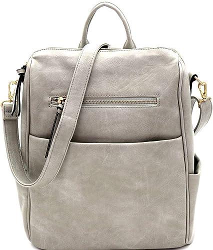 Multi Pocket Convertible PU Leather Backpack Shoulder Bag
