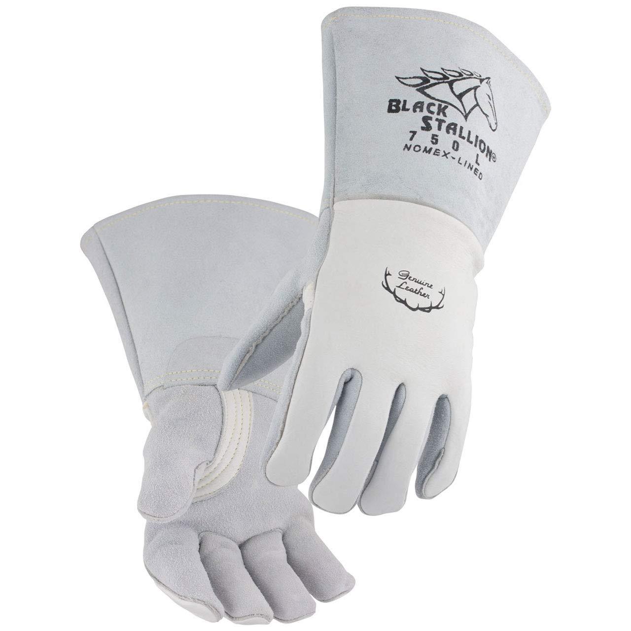 Black Stallion 750 Premium Grain Elkskin Stick Welding Gloves, Medium