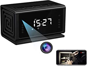 Hidden Camera WiFi Clock Senluo 1080P Full HD Spy Clock Camera Home Security Nanny Camera with Night Vision,Miotion Detection,Bluetooth Speaker,FM Radio(No Sound Recording)