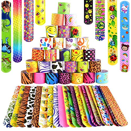 FEPITO 100 PCS Slap Bracelets Slap Bands for Kids Party Bag Fillers with Hearts Animal Emoji Patterns Little Toys for Birthday Presents Party Favours School Goodie Bags