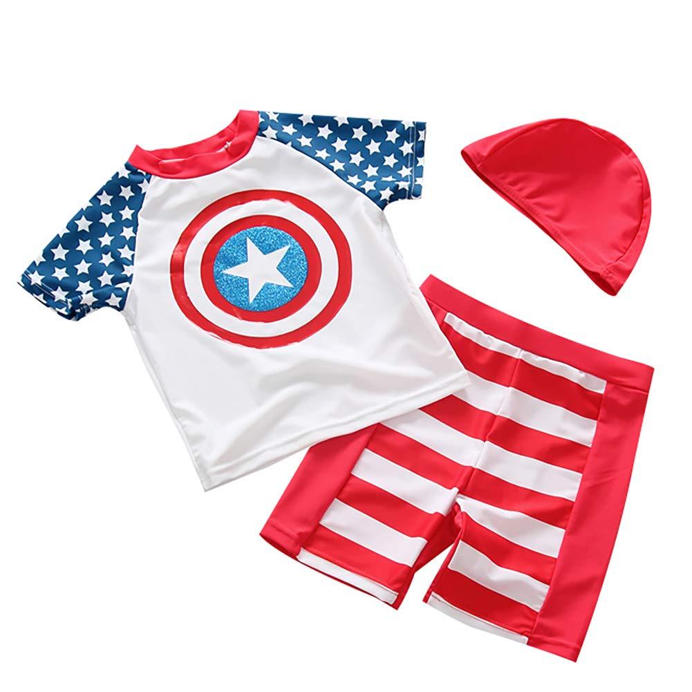 Baby Toddler Boys Short Sleeve Swimsuits 2PCS Swimwear Sun Protection UPF50 Rash Guard Bathing Suits