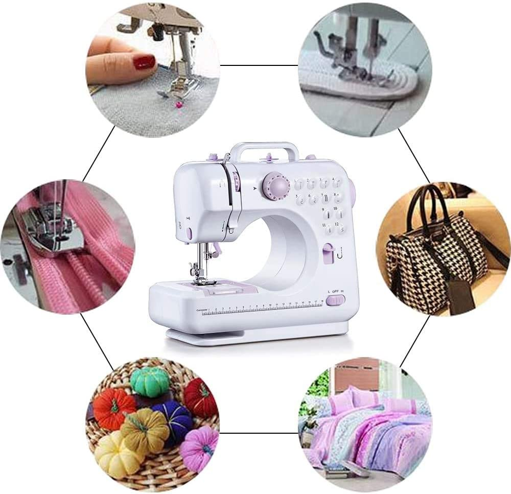 Multifunction Portable Desktop Electric Household Sewing Machine Sewing Tool Mini Sewing Machine 505A 12 Built-in Stitches 2 Speeds Double Thread Foot Pedal Best for Beginner