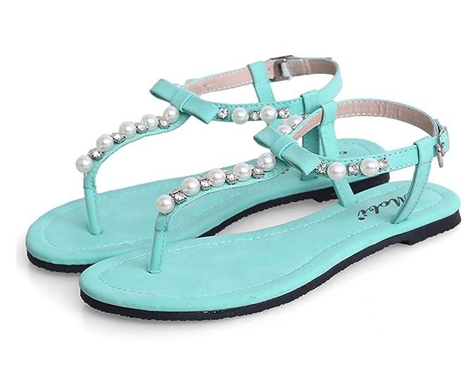 Damen Strand Flach Sandalen Zehentrenner Sommerschuhe T-Strap Thong Sandalen Mit Strasssteine Weiß 37 P9QmJ