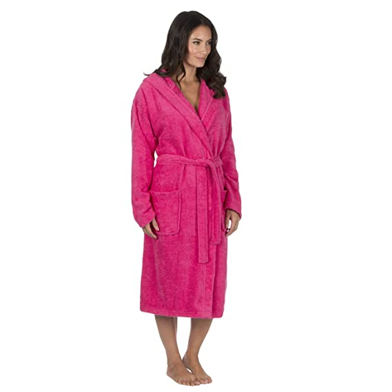 Ladies Hooded Towelling Robe/Dressing Gown. White Hot Pink. Sizes S ...