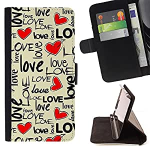 DEVIL CASE - FOR Apple Iphone 6 - Love Heart Text Beige Valentines Honey - Style PU Leather Case Wallet Flip Stand Flap Closure Cover