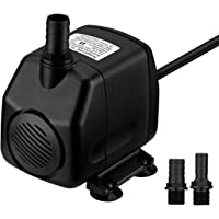 VicTsing 920 GPH Submersible Pump Foutain Water Pumps(60W, 5.9ft Power Cord, 9.8ft High Lift, Two Nozzles)