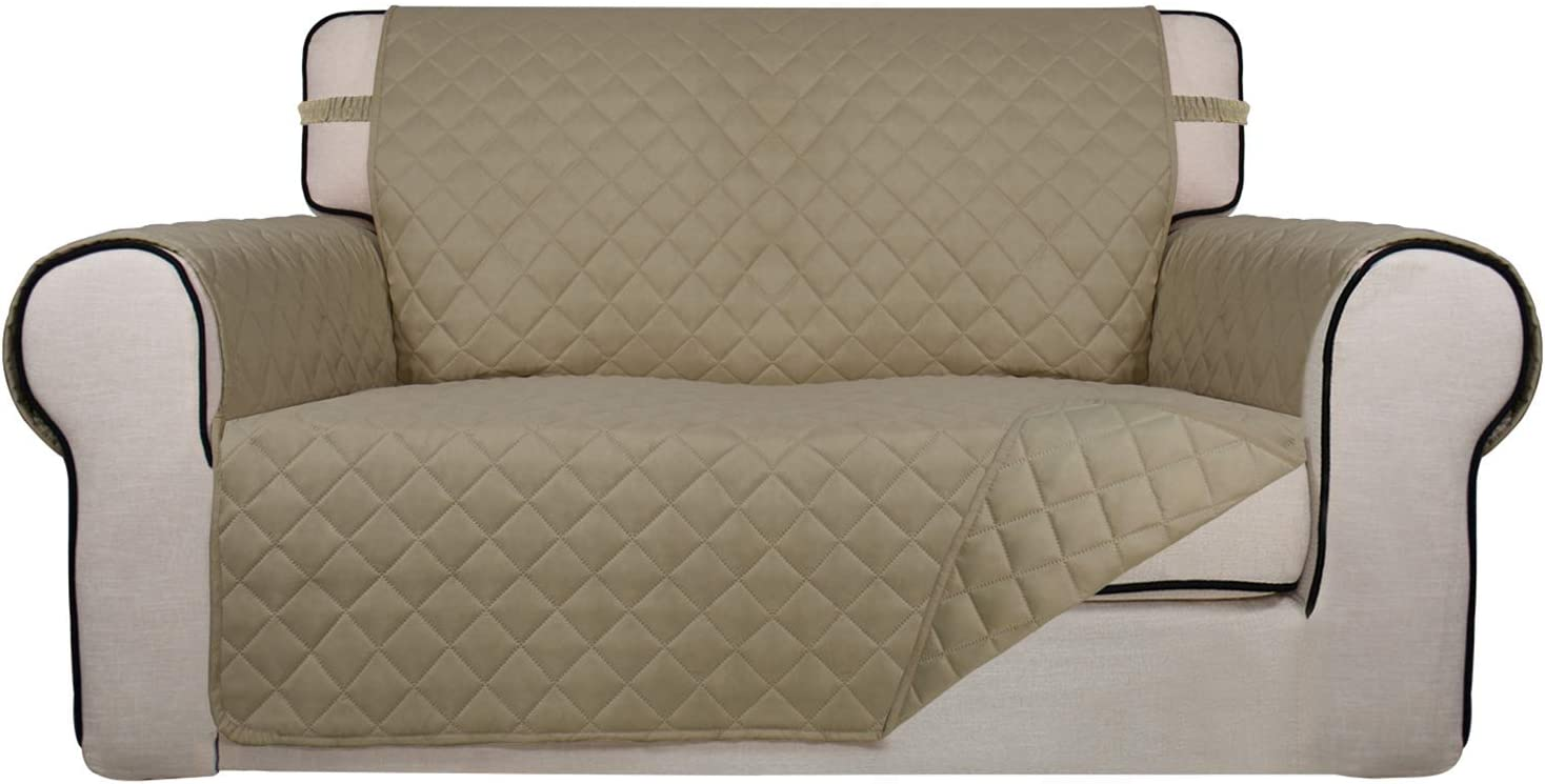 PureFit Reversible Quilted Sofa Cover, Water Resistant Slipcover Furniture Protector, Washable Couch Cover with Non Slip Foam and Elastic Straps for Kids, Dogs, Pets (Loveseat, Beige/Beige)