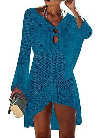 ASSKDAN Femme Robe de Plage Dentelle Crochet Maillot de Bain Cover Up Femme  Sexy Dentelle Robe 852c4a0125a