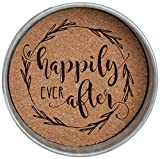 Occasionally Made O-HSW-CS-AFT 4'' Happily Ever After Mason Jar Lid Coaster Stack 4 Piece Set