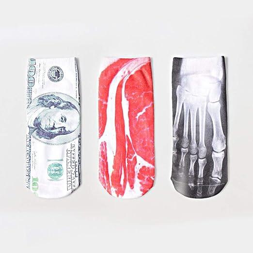 YAHUA LI Calcetines de 5 Piezas de panceta de Cerdo, Calcetines de Tobillo con Estampado 3D Divertidos y Coloridos, Regalos de diseño de Corte bajo de Lindo Gato Unicornio, 22 cm: Amazon.es: