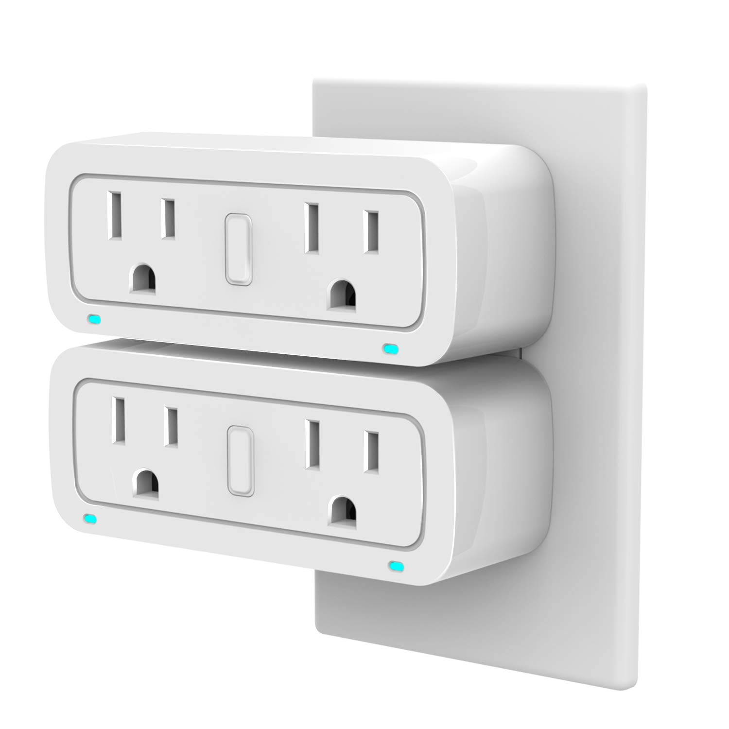 WiFi Smart Plug 2 in 1 Dual Outlet Works Separately with Energy Monitoring and Compatible with Alexa Google Home IFTTT No Hub Required 2 Pack