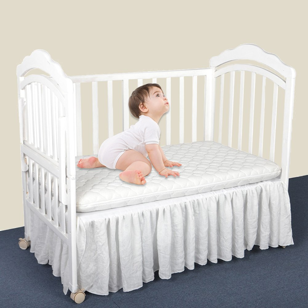 Pueri Crib Skirt Ruffled Crib Bed Skirt Nursery Crib Bedding for Baby Boys or Girls