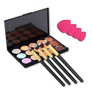 Sunfei 15 Colors Contour Concealer Palette + 4pcs Powder Brushes +4 PCS Sponge Blender