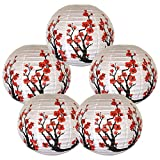 Just Artifacts Set of 5 Red Sakura (Cherry) Flowers White Color Chinese/Japanese Paper Lantern/Lamp 16'' Diameter - Just Artifacts Brand