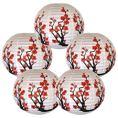 Just Artifacts Set of 5 Red Sakura (Cherry) Flowers White Color Chinese/Japanese Paper Lantern/Lamp 16