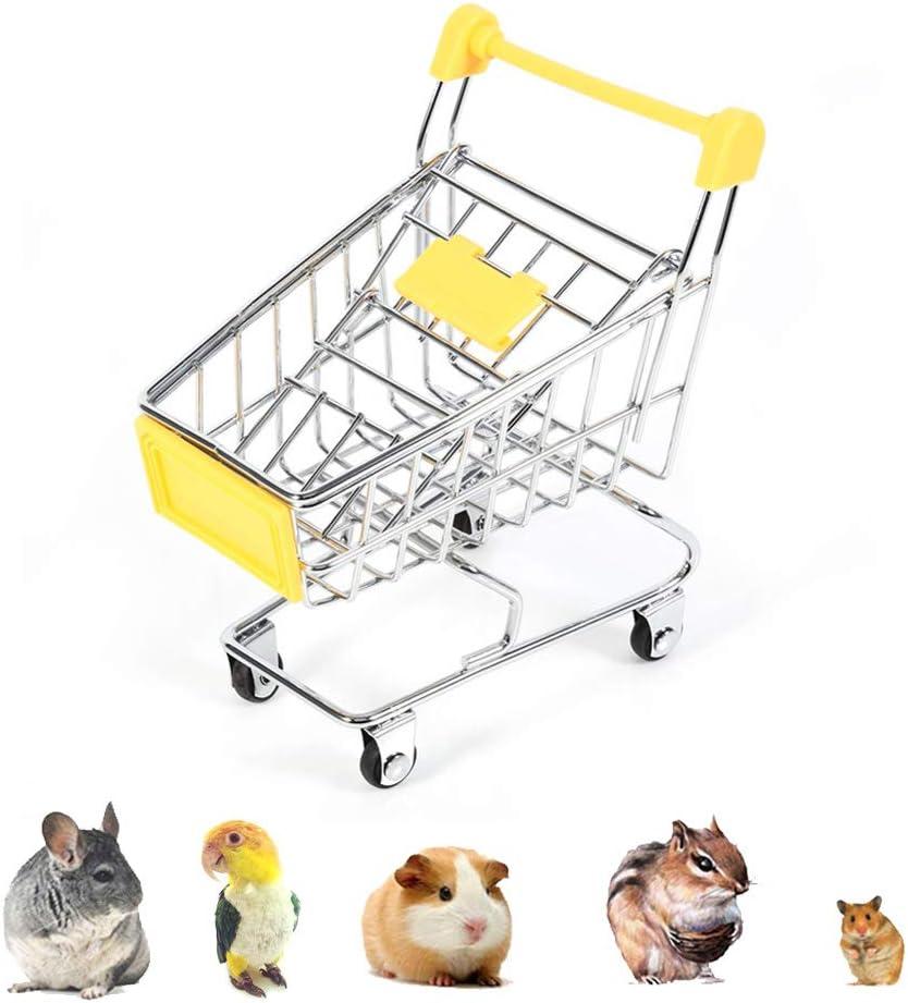 Mini supermercado Compras Carrito de mano, carro de carro Loro Pájaro de Guinea Hámster Juguete de animal pequeño, Escritorio de utilidad Accesorio de almacenamiento Color aleatorio