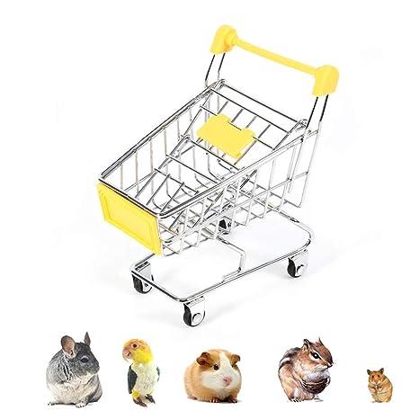 Mini supermercado Compras Carrito de mano, carro de carro Loro Pájaro de Guinea Hámster Juguete