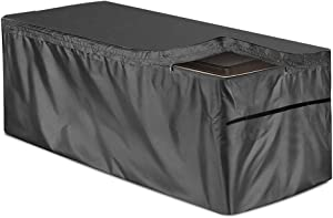 skyfiree Patio Deck Box Cover with Zipper 51x23x28 inch Waterproof Outdoor Cushion Box Cover Storage Ottoman Bench Cover for Garden Deck Box Container Black