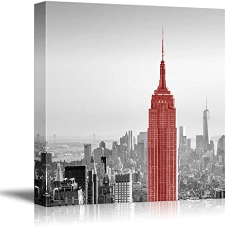 Wall26 Black And White Photograph Of New York With A Pop Of Red On The Empire State Building Canvas Art Home Art 16x16 Inches Posters Prints