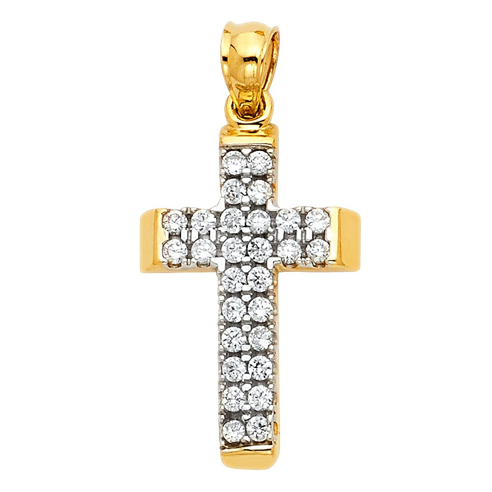 19mm x 13mm with 18 Rolo Chain Million Charms 14k Yellow Gold Religious CZ Cross Charm Pendant