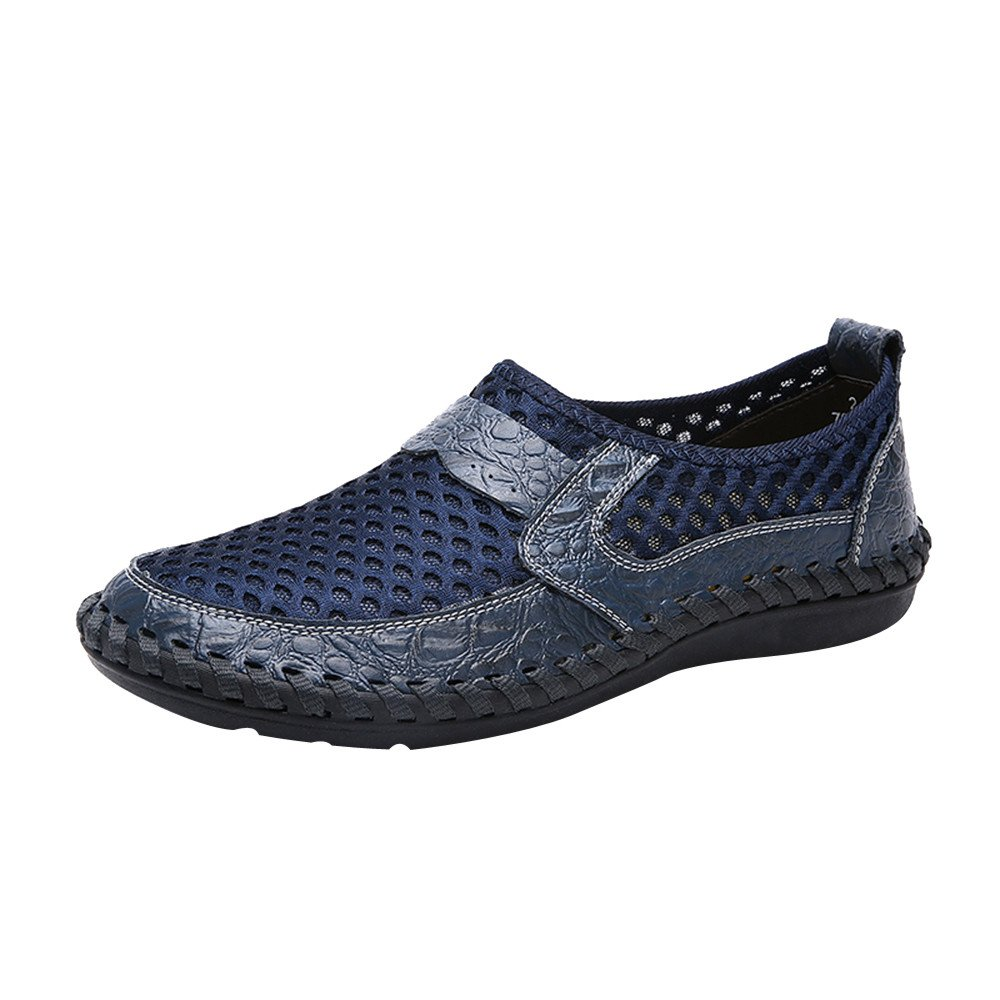 【MOHOLL】 Men's Summer Breathable Mesh Casual Walking Shoes Driving Loafers Blue