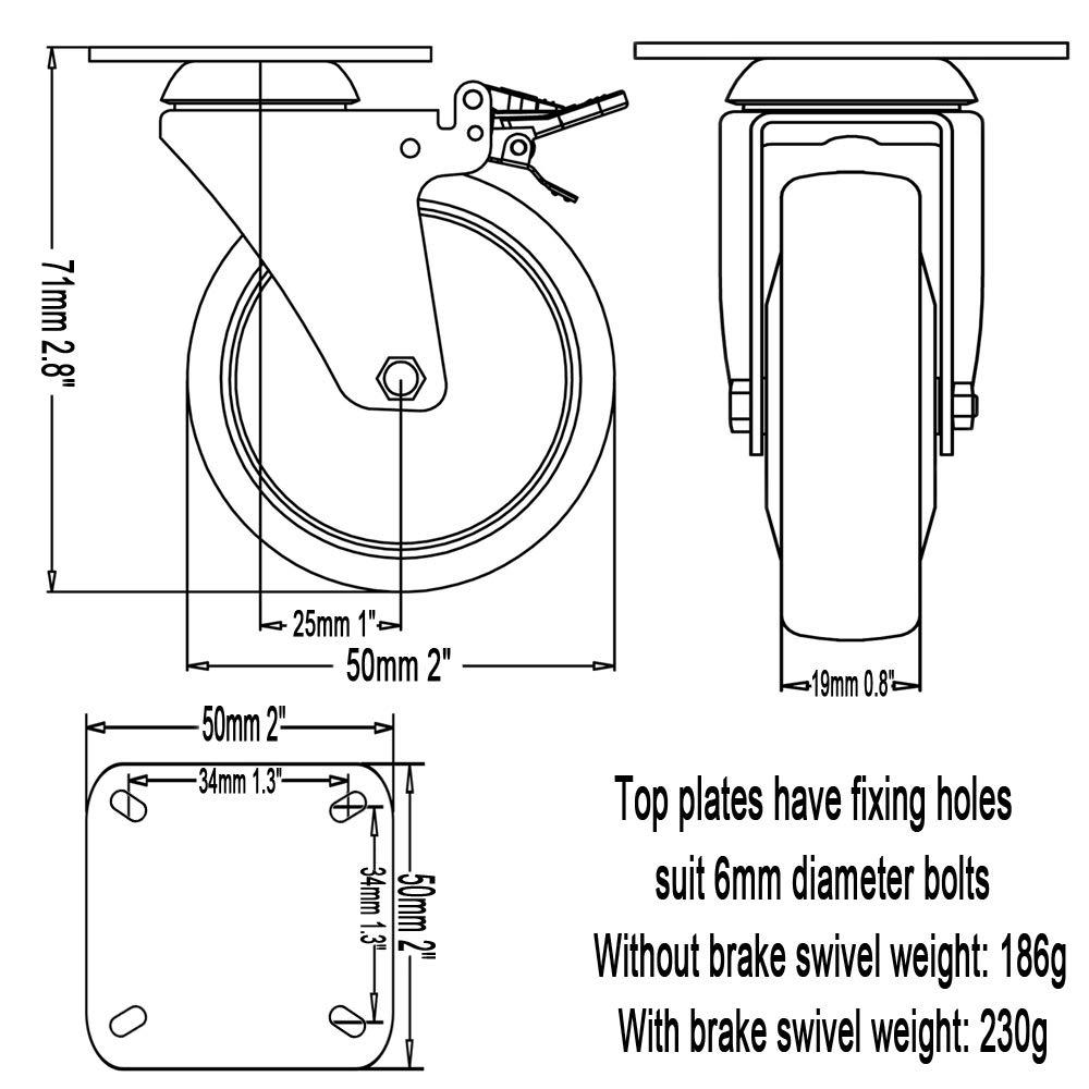 4 x 50 mm Rueda giratoria para muebles poliuretano 240 kg 2 ruedas DSL 2 ruedas giratorias de goma con freno