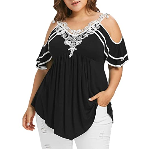 6ed9a64955924 Image Unavailable. Image not available for. Color  MEEYA Hot Sale! Plus  Size Shirts Fashion Womens Tiered Lace Appliques Cold Shoulder ...