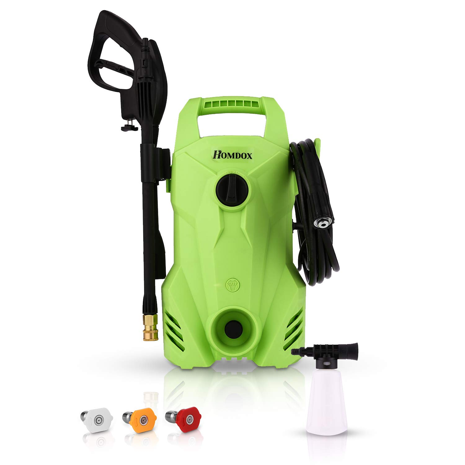 Homdox 2300 PSI 1.6 GPM Electric Power Pressure Washer Compact Professional Washer Cleaner Machine, 1400W Portable Electric Power Washer with External Detergent Dispenser,3 Nozzles