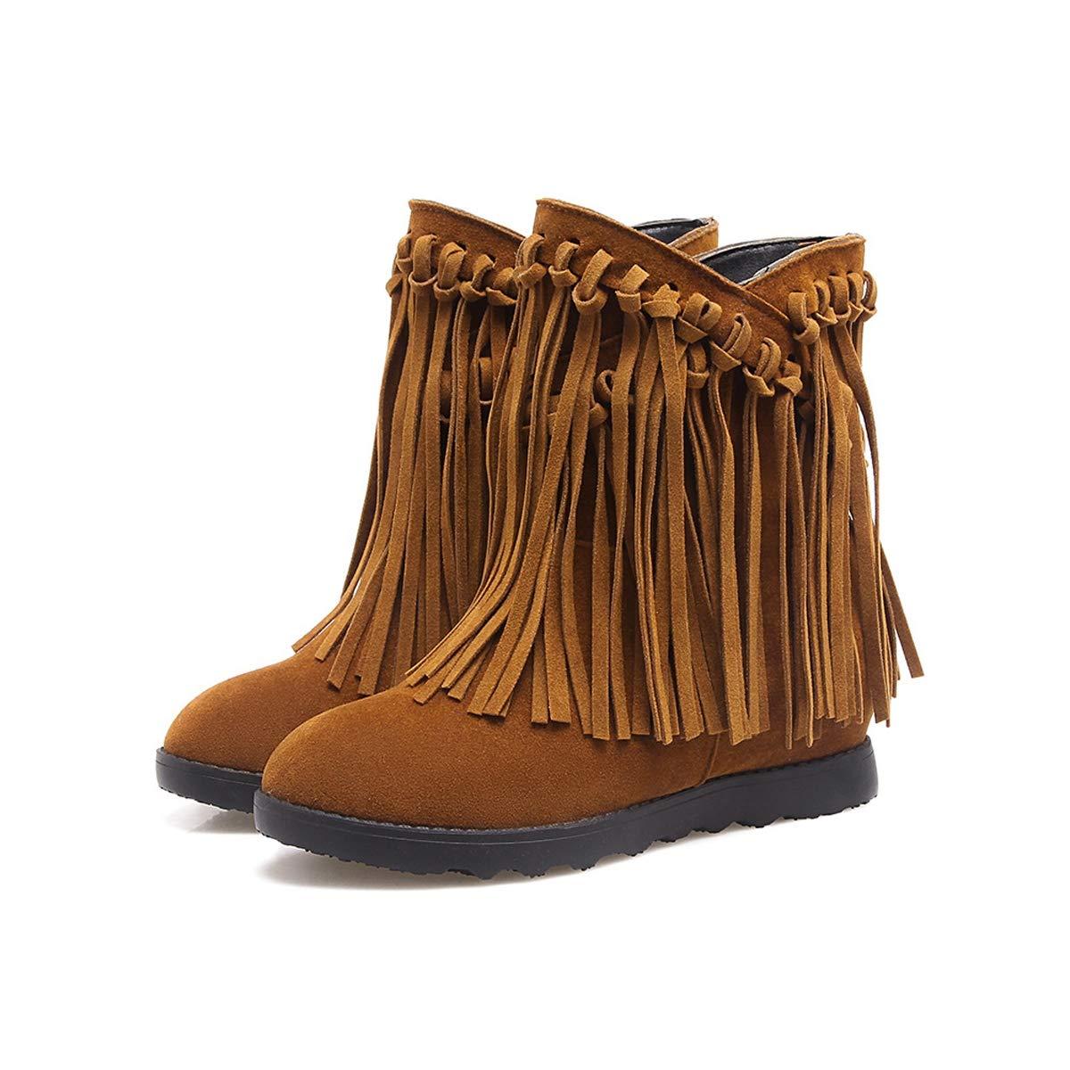 Adong Mujer Martin Botas Borla Ante Color Color Color sólido Zapatos Planos Antideslizante Resistente al Desgaste Durable fácil de Combinar en Zapatos de Caminar al Aire Libre,D,36EU 612012