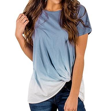 899ec12a55e ❤️LILICAT Femmes Dames Gradient Couleur Noué T-Shirt Haut à Manches Courtes  Blouse Coton