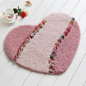 Heart Shape Carpet Mat Living Dining Bedroom Area Rugs Slip Resistant Door Floor Mat Washable Bathroom Rug Carpet Home Textile