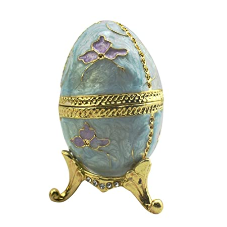 Schmuckschatulle Faberge Egg Style, Home Decoration Vintage Egg Figur Metalcraft Schmuckschachtel, Osterei Form Ornament Box